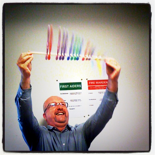a very happy Toothbrush Twirling Chief Executive!